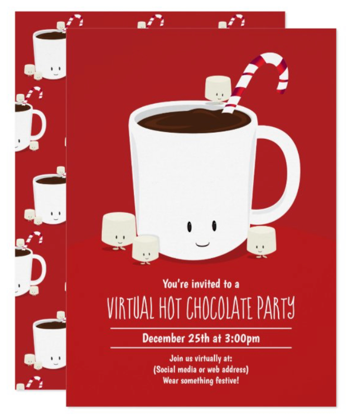Hot Chocolate Virtual Christmas Party Invitation