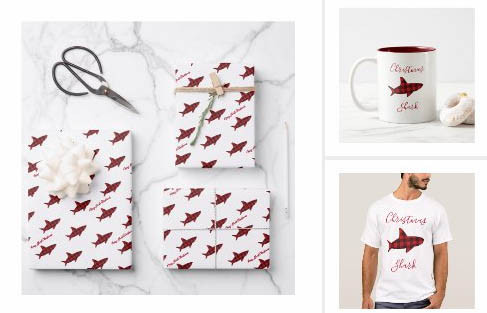 shark, novelty Christmas products, red plaid, shark pattern, fun animal chirstmas design, white red black, merry christmas,