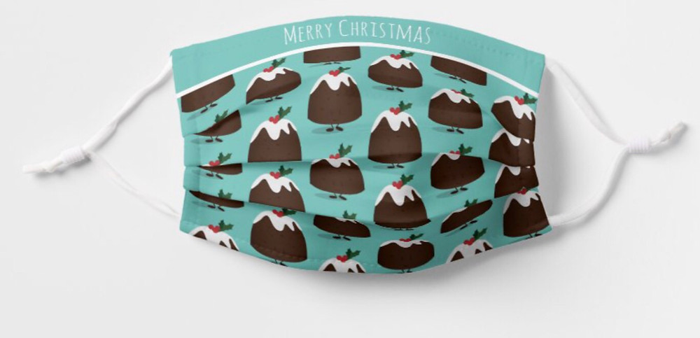 Cute Christmas Pudding Cartoon Pattern Teal Cloth Food Holiday Christmas Face Mask for Kids