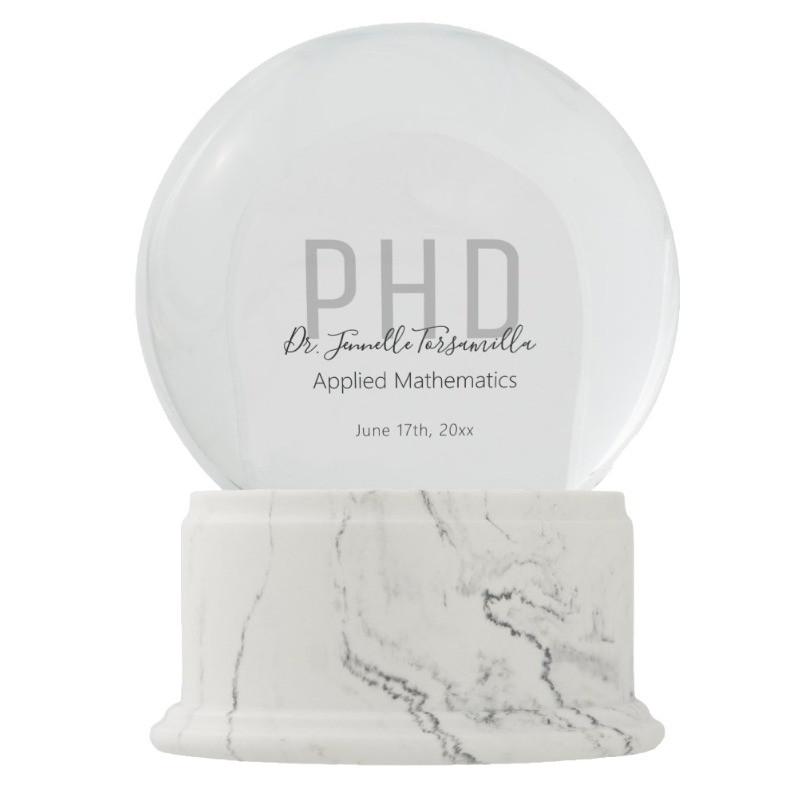Graduation Gift Personalized Photo PhD Snowglobe