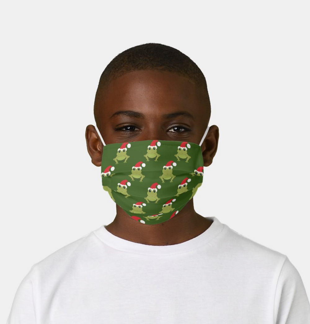 Animal Christmas face mask with a pattern of green frogs wearing Santa hats