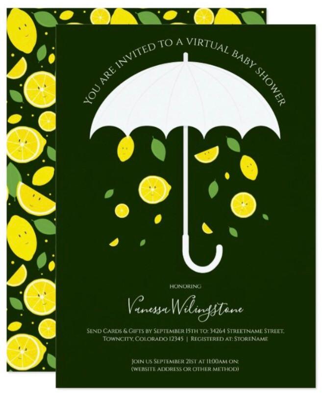 Green White Umbrella Virtual Lemon Baby Shower Invitation
