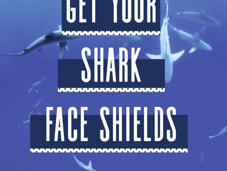 Face shields with sharks