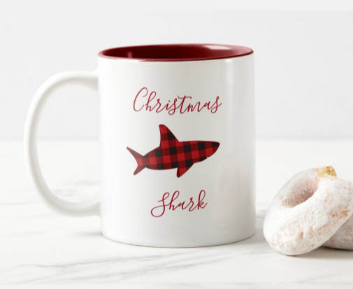 shark, red plaid, novelty Christmas mug, animal christmas mug, christmas gift for shark lover,