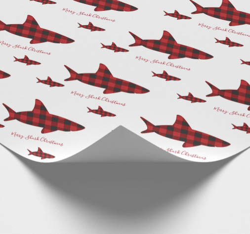 shark, red plaid, merry christmas, novelty christmas wrapping paper, animal wrapping paper, white red black,