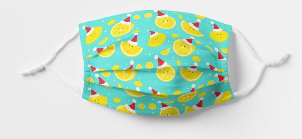 Fun Smiling Lemons Santa Hat Cute Fruit Food Christmas Face Mask for Kids