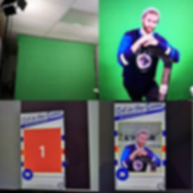 Green screen fun getting ready for a bar