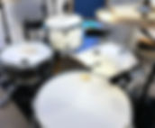 White Drums With Microphones