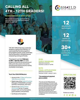 2021 SHIELD Saturday Leadership Academy Recruitment Flyer