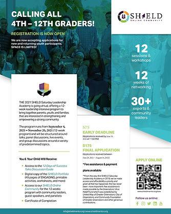 Fall 2021 SHIELD Saturday Leadership Academy Flyer