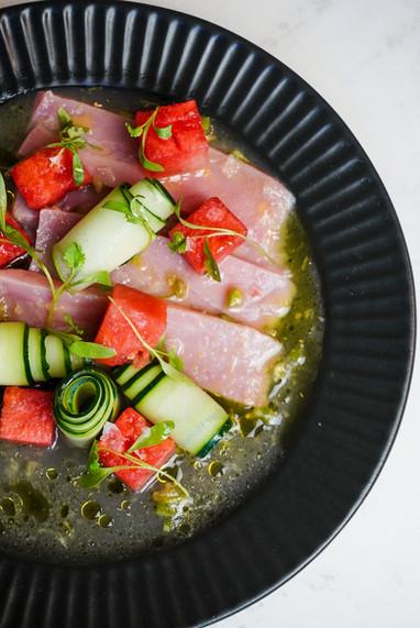 Yellowfin tuna and watermelon crudo.JPG