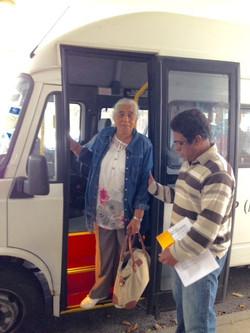 Getting off the minibus