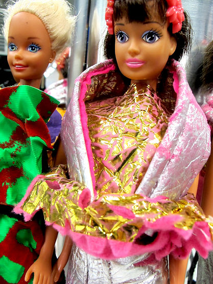 Barbie wearing experimental textile art by Richard McCoy