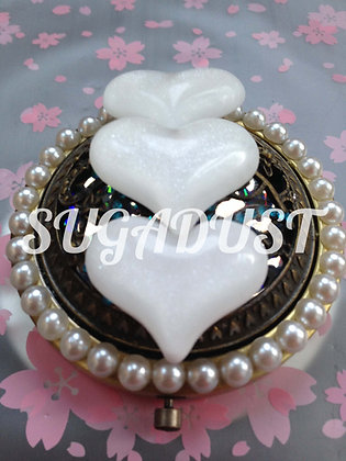 Triple White Heart Mirror