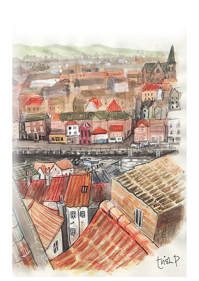 Whitby rooftops A5 print