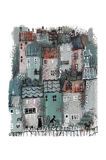 "The village 4"" x 6"" print"