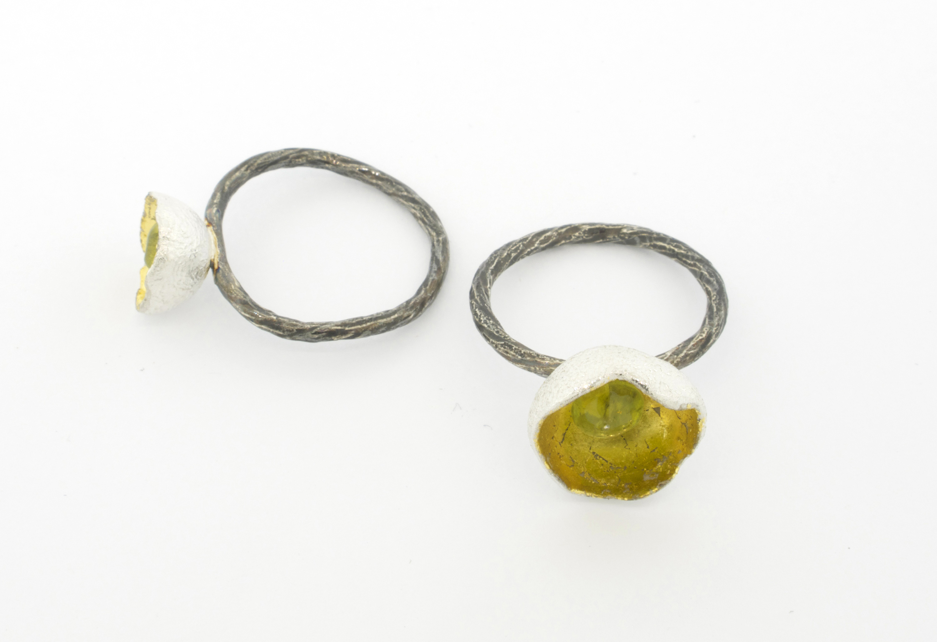 chalice rings, gold leaf peridot