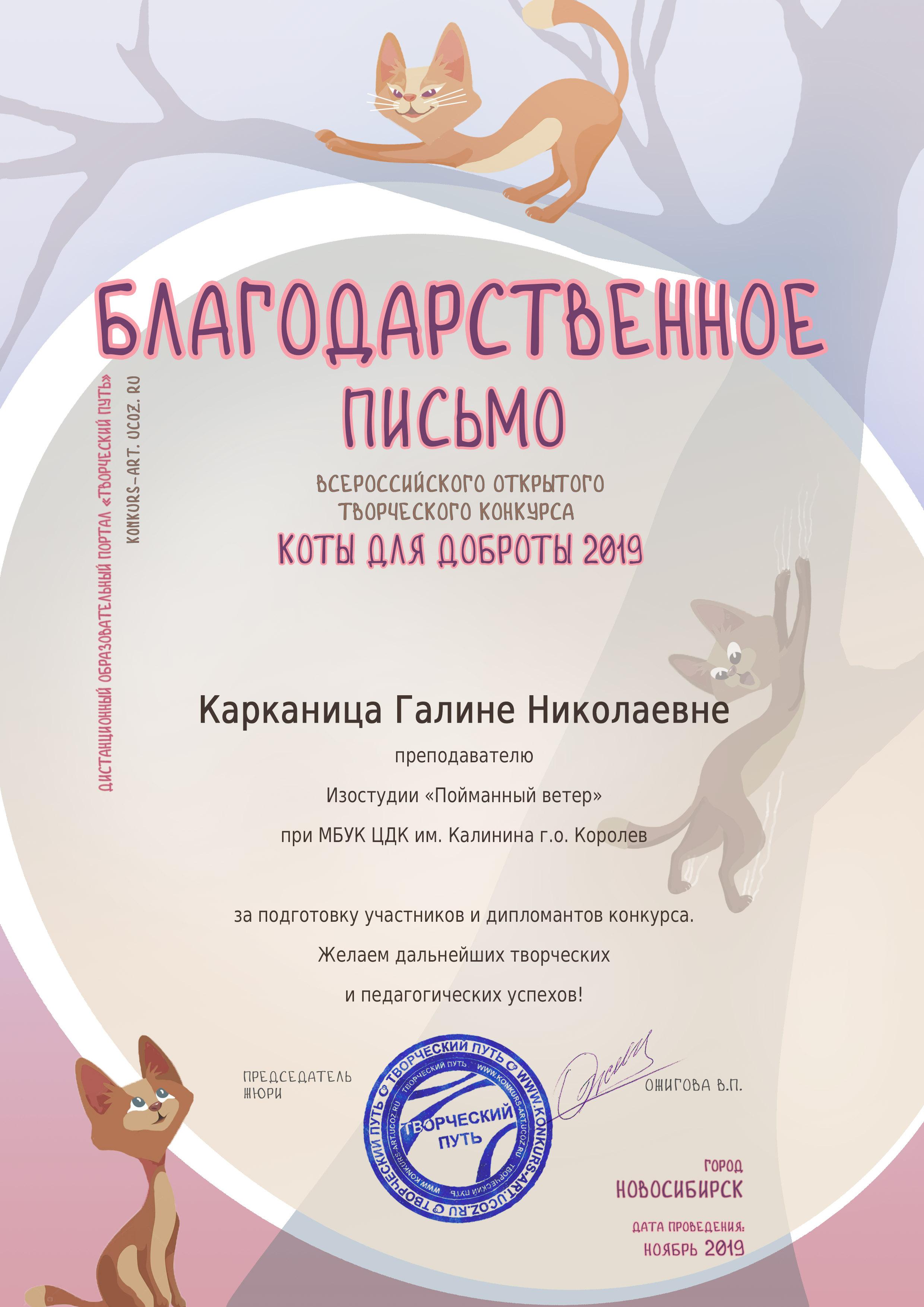 """""""Коты для доброты 2019"""" Карканица"""