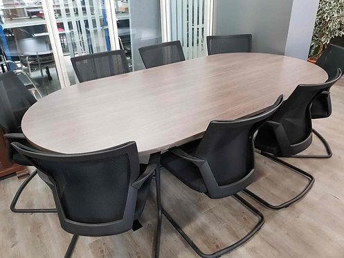 Ovale vergadertafel (Antraciet eiken)