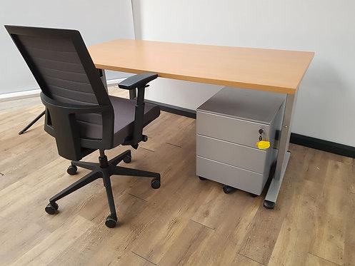 Bureau 160x80 Beuken/aluminium