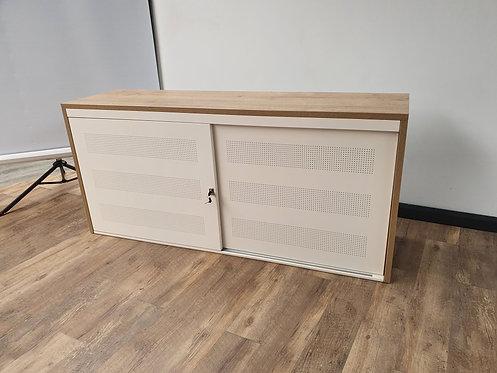 Design schuifdeurkast wit 72,5x160 met ombouw Halifax eiken