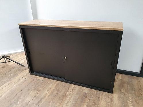 Schuifdeurkast 100x160 (Zwart) met topblad