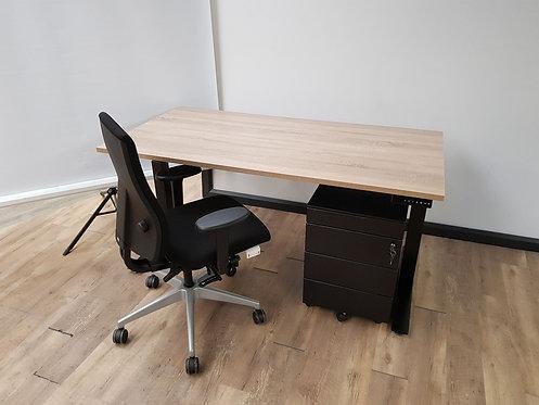 Elektrisch zit/sta bureau zwart (robson eiken 160)
