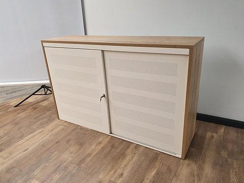 Design schuifdeurkast wit 100x160 met ombouw Halifax eiken