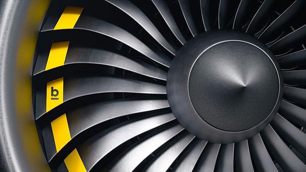 Triebwerk Flugzeug mit Logo breitband
