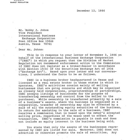 IBEX's No Action letter that changed an industry