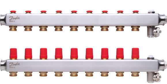 088U0809 Kolektorius reguliuojamas be debitomaciu 9 ziedu, su drenazu ir rankiniais nuorintojais DANFOSS
