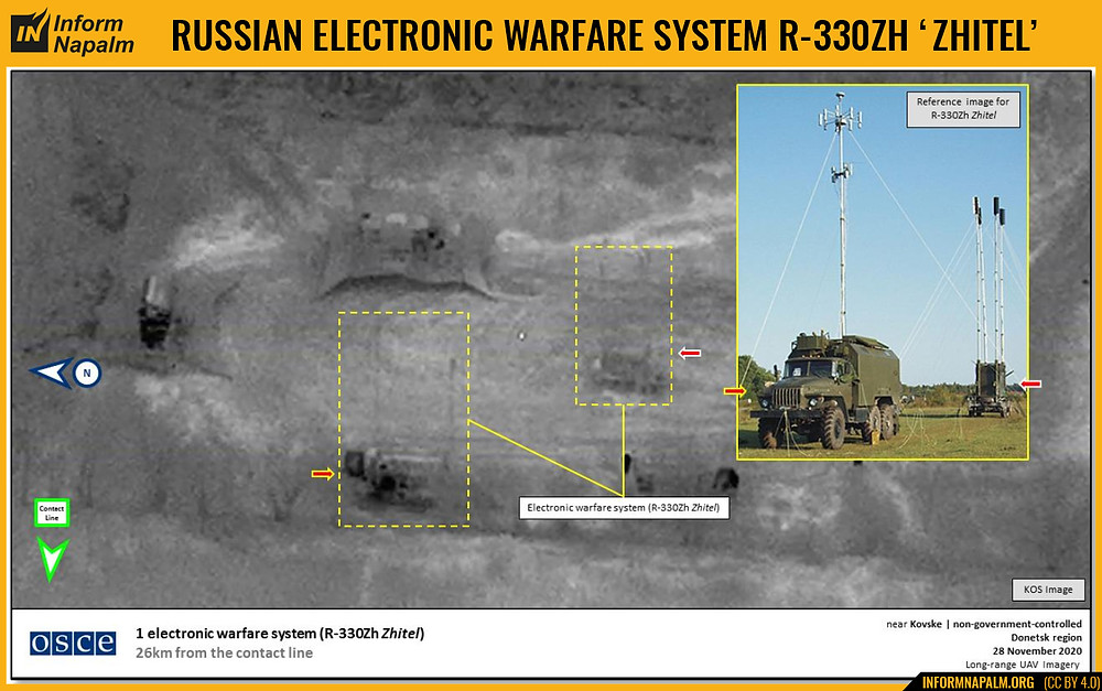 """Rusijos elektroninės kovos kompleksas R-330Ž """"Žitel"""" eilinį kartą užfiksuotas Donbase (FOTO)"""