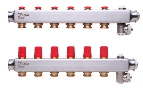 088U0806 Kolektorius reguliuojamas be debitomaciu 6 ziedu, su drenazu ir rankiniais nuorintojais DANFOSS