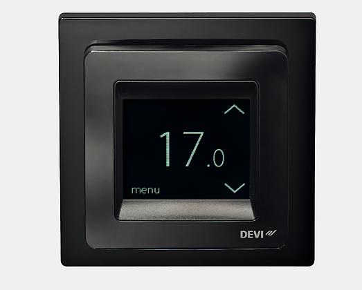 Patalpos termostatas DEVIreg™ Touch juodas, +5...+45 °C, grindų+patalpos jutiklis, 16 A