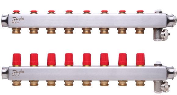 088U0808 Kolektorius reguliuojamas be debitomaciu 8 ziedu, su drenazu ir rankiniais nuorintojais DANFOSS