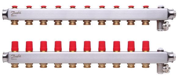 088U0810 Kolektorius reguliuojamas be debitomaciu 10 ziedu, su drenazu ir rankiniais nuorintojais DANFOSS