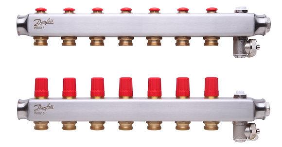 088U0807 Kolektorius reguliuojamas be debitomaciu 7 ziedu, su drenazu ir rankiniais nuorintojais DANFOSS