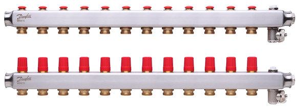 088U0812 Kolektorius reguliuojamas be debitomaciu 12 ziedu, su drenazu ir rankiniais nuorintojais DANFOSS