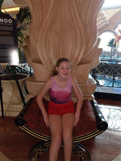 Chloe sitting on a cool throne.