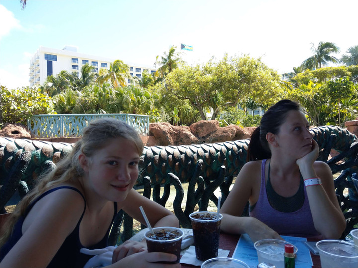 Chloe and her sister Sara enjoying lunch outside in the Lagoon Grill