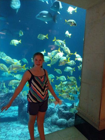 Chloe at the Atlantis Marine Habitat.