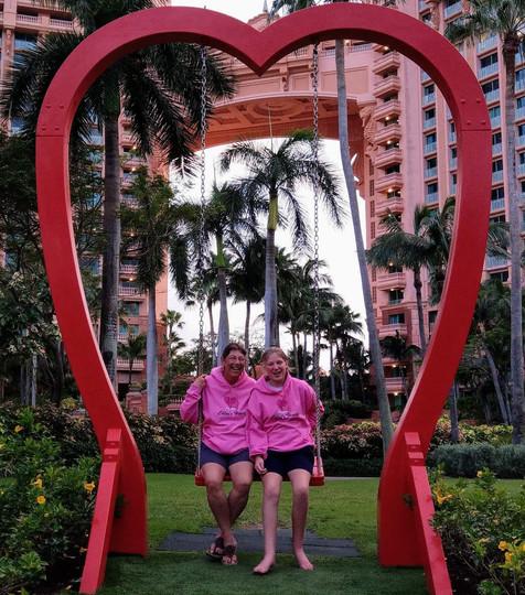 Chloe and mom Julie taking a swing break.