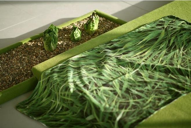 Rachel Pimm, Greenwash Towel, detail from Garden City collection, 2013