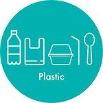 pastic bottle, plastic bag, plastic container, plastic straw and plastic spoon