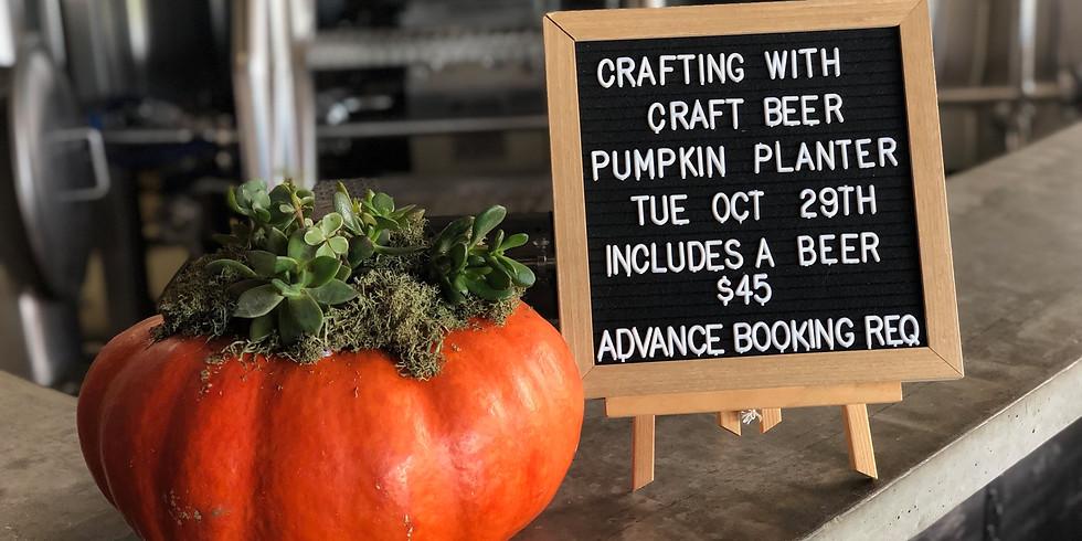 October Crafting with Craft Beer - Pumpkin Succulent Garden