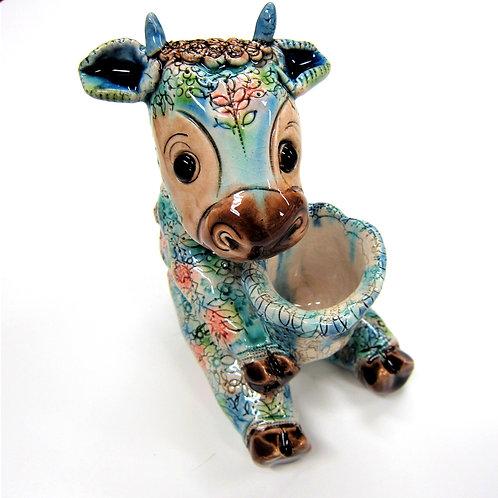 スペイン陶芸 おすわり牛さんミルクをどうぞ(船戸あやこ作)