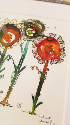 水彩画 太陽の花