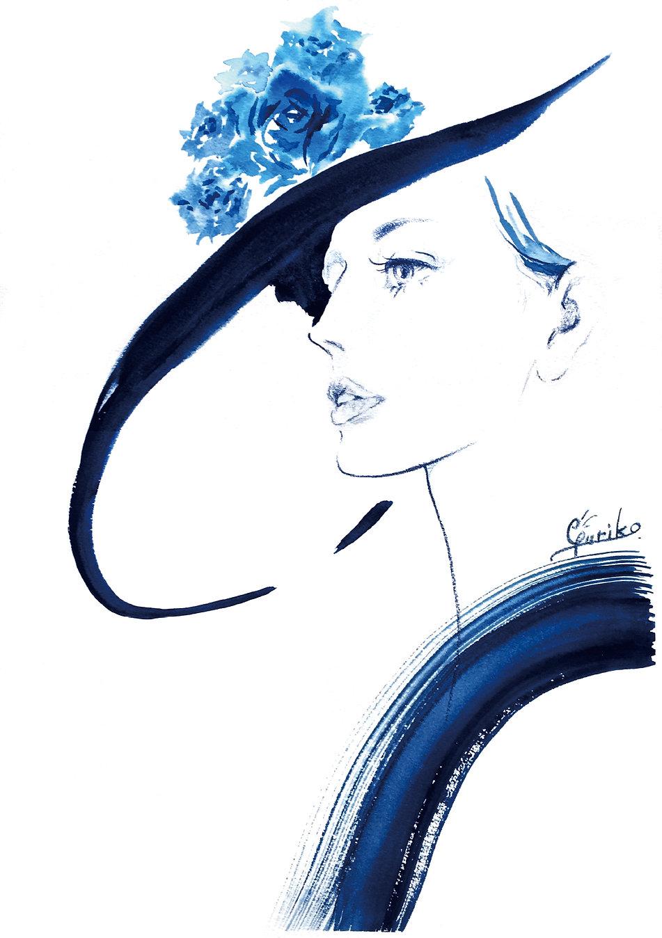 青い帽子の女性