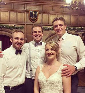 An acoustic wedding band with a happy couple after a fantastic wedding day in Shrewsbury. The band has just provided live acoustic music and DJ for their beautiful hall wedding. The couple left a great testimonial.