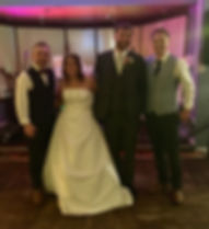 A happy couple and a unique acoustic wedding band in Market Drayton. This was a pub wedding and the band provided upbeat live music and Dj during their wedding reception. This was a fantastic event and the couple gave a great review.